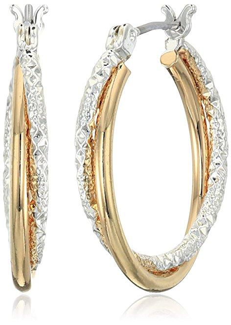 Two-Tone Textured Click Top Hoop Earrings