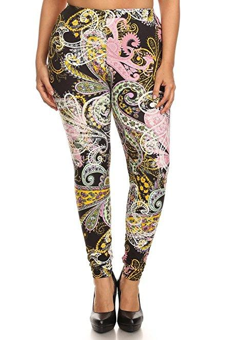 Plus Size Women Soft Paisley Diary Print Leggings