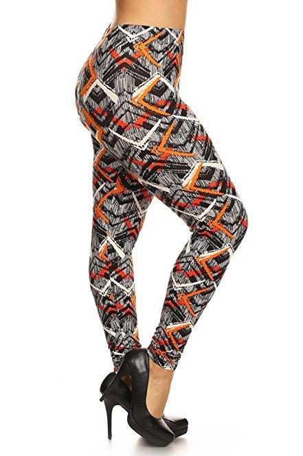 Plus Size Women Soft Orange Crush Print Leggings