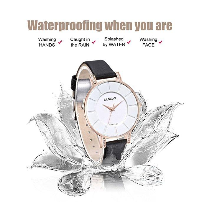 Women's Quartz Analog Wrist Watch Ladies Leather Roman Numeral White Dial Gold Tone