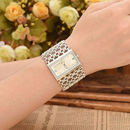 Women Luxury Fashion Bracelet Analog Quartz Watch Silver Tone