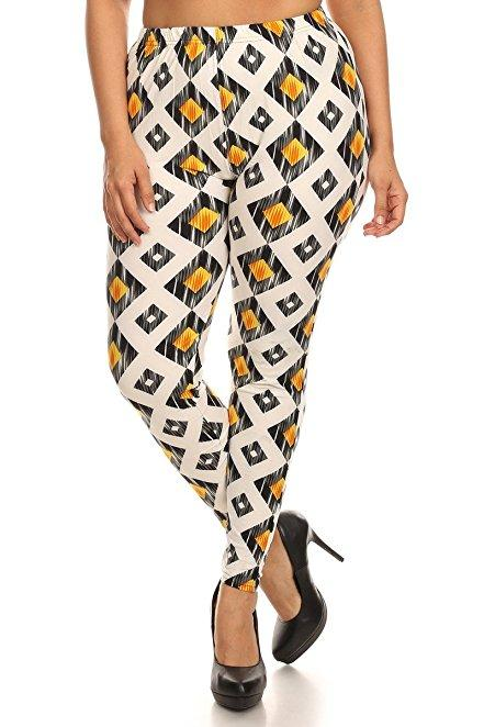 Plus Size Women Soft Diamond Print Leggings