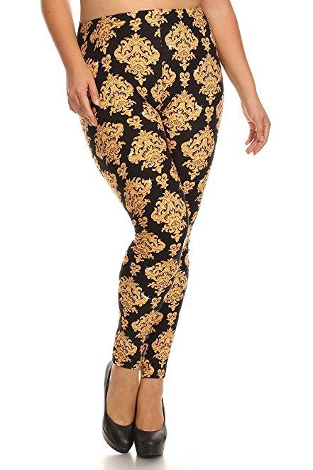 Plus Size Women Soft Gold Crest Print Leggings