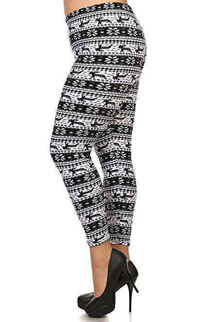 Plus Size Women Soft Snowflake Bunny Print Leggings