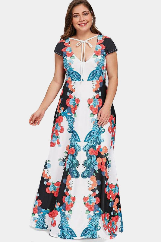 Plus Size In Bloom Gorgeous Bow Neckline Maxi Dress