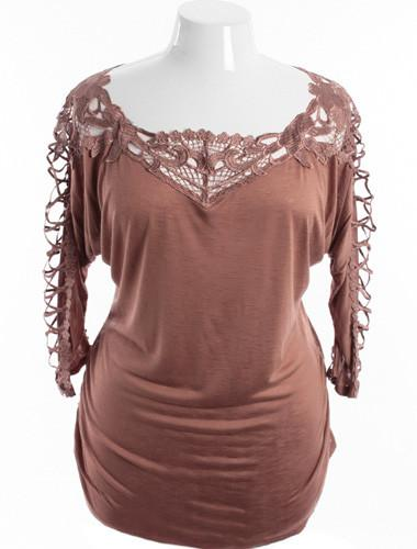 Plus Size See Through Sleeves Taupe Floral Tunic