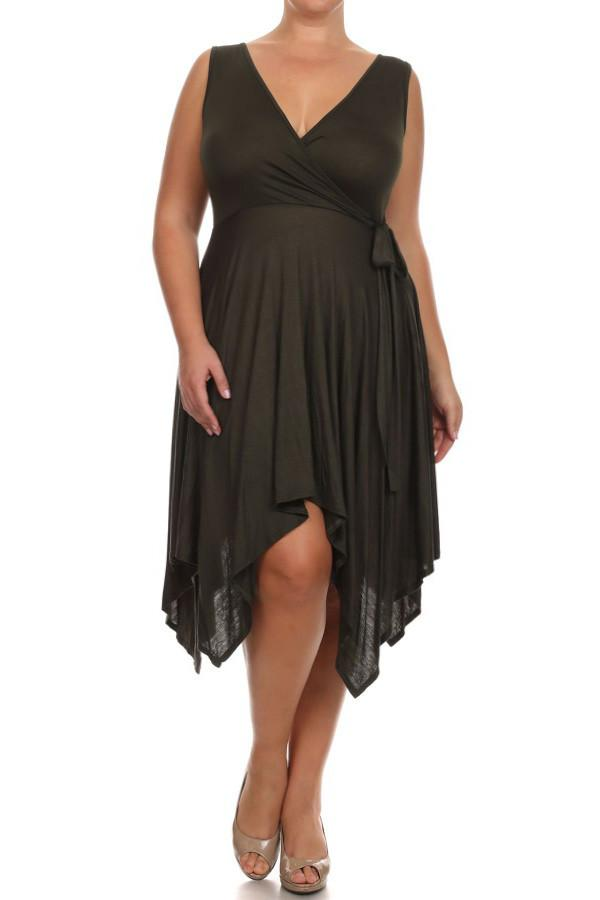 Plus Size Bella Hanky Hem Bow Side Dress