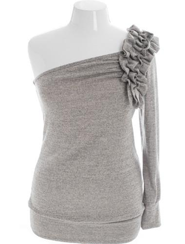 Plus Size Sparkling One Shoulder Ruffled Grey Top