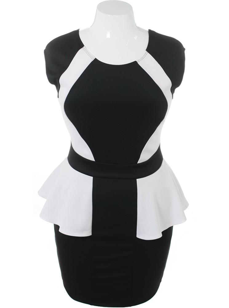 Plus Size Color Block White Peplum Dress