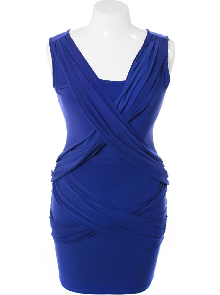 Plus Size Criss Cross Front Blue Dress