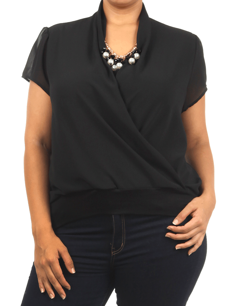 Plus Size Jewelry Semi Sheer Black Blouse
