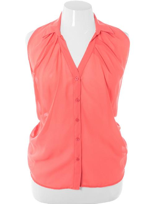 Plus Size Sexy Shear Pleated Coral Button Up