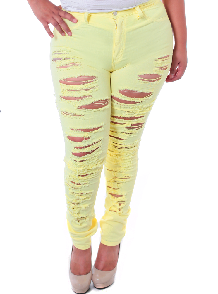 Plus Size High Waist Slashed Pastel Yellow Jeans