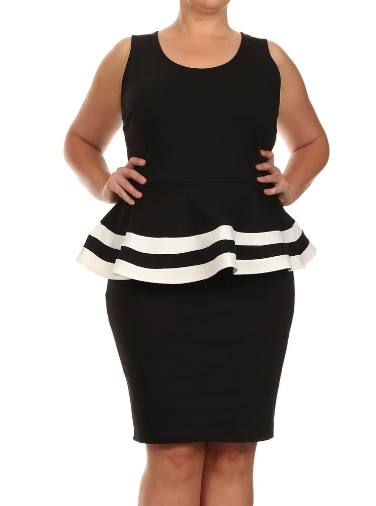 Plus Size Lovely Colorblock Peplum Black Dress