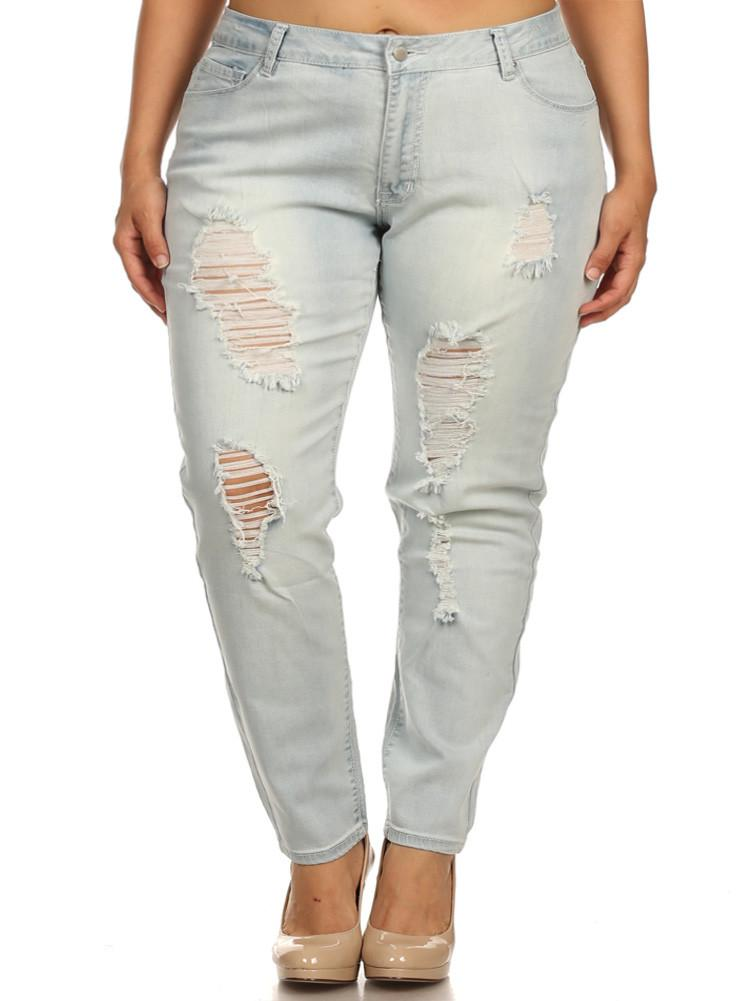 Plus Size Light Wash Distressed Denim Boyfriend Jeans