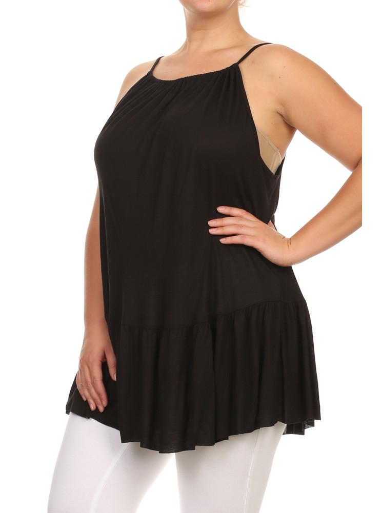 Plus Size Drop Waist Criss Cross Back Black Top