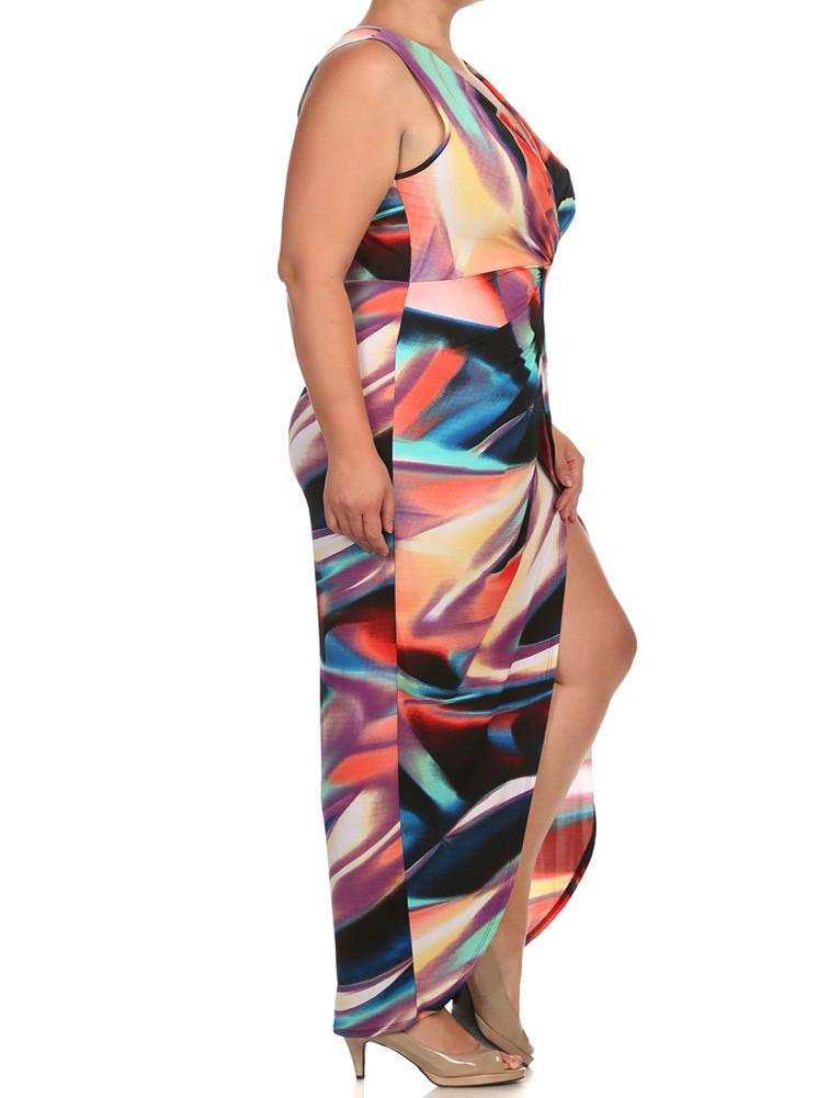 Plus Size Luring Colorful Front Knot Maxi Dress