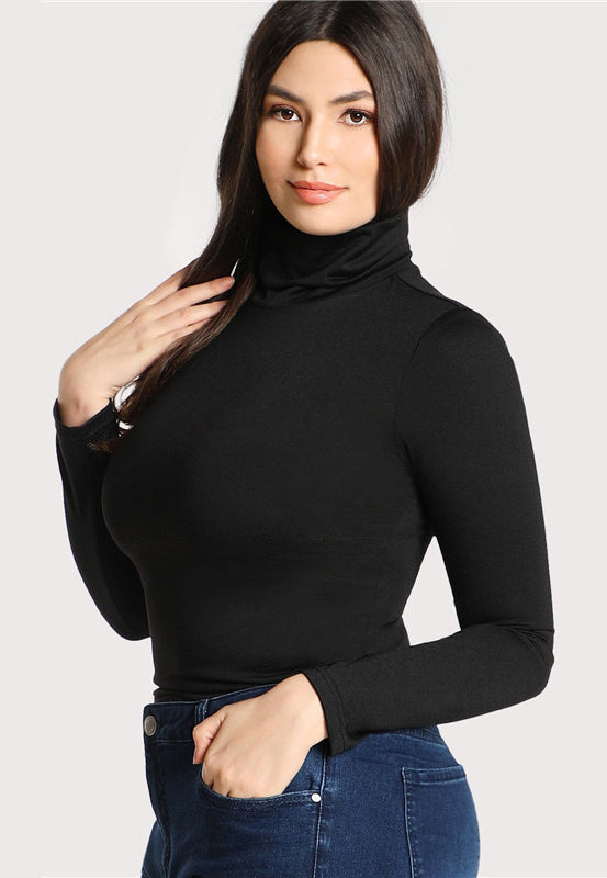 Plus Size Black Casual High Neck Long Sleeve Solid Top