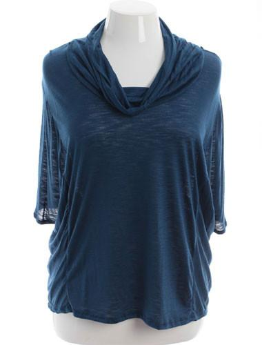 Plus Size Designer Cowl Neck Loose Blue Blouse