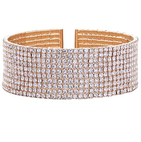 Women's 1-5 Rows Elastic Stretch Tennis Bracelet Clear CZ Crystal Bracelet Cuff Set Fashion Jewelry