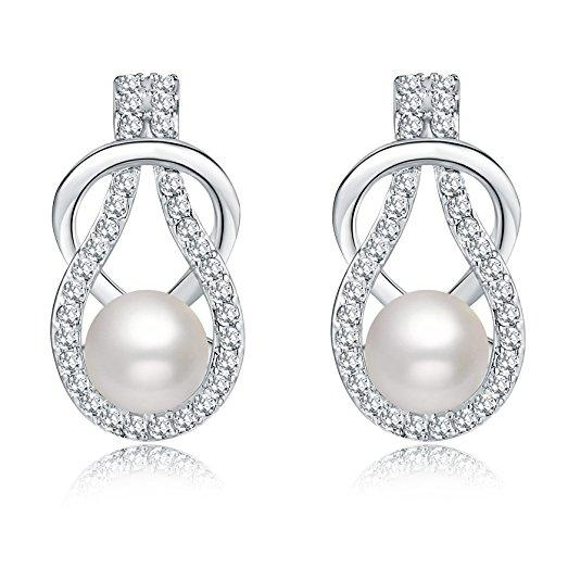 Silver Crystal Diamond Accent Pearl Round CircleEarrings