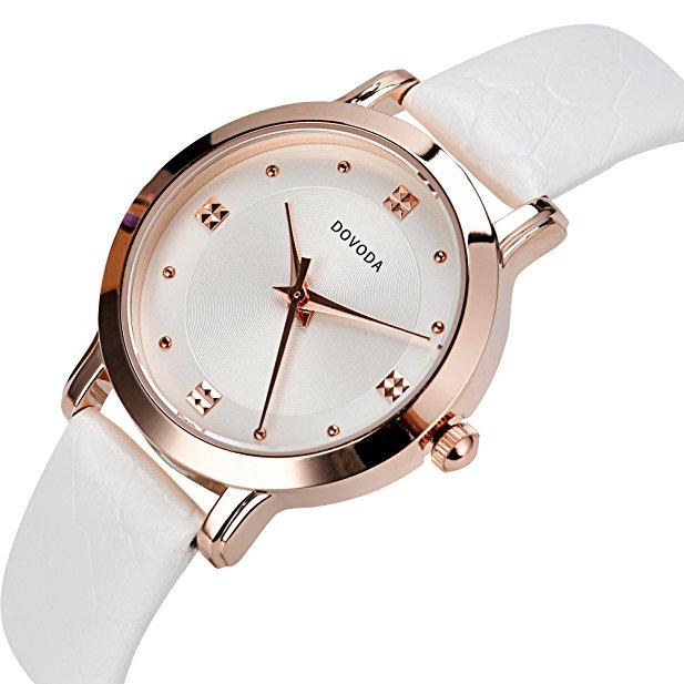 Quartz Rose Gold Dial White Leather Strap Watche