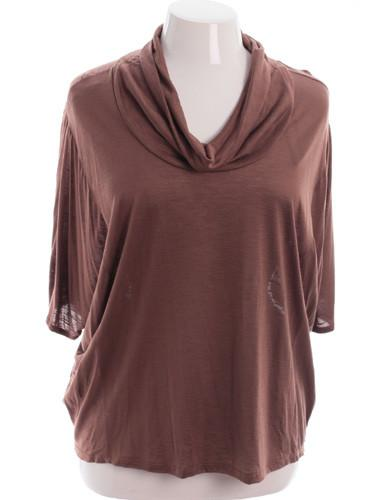Plus Size Designer Cowl Neck Loose Taupe Blouse