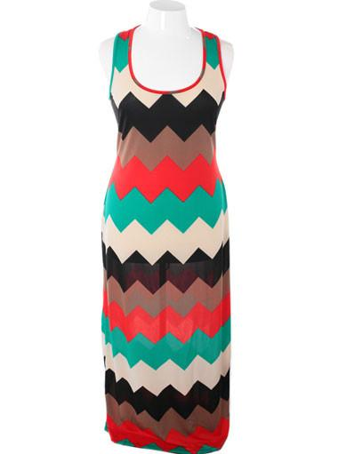 Plus Size Hollywood  Zig Zag Floor Length Red Dress