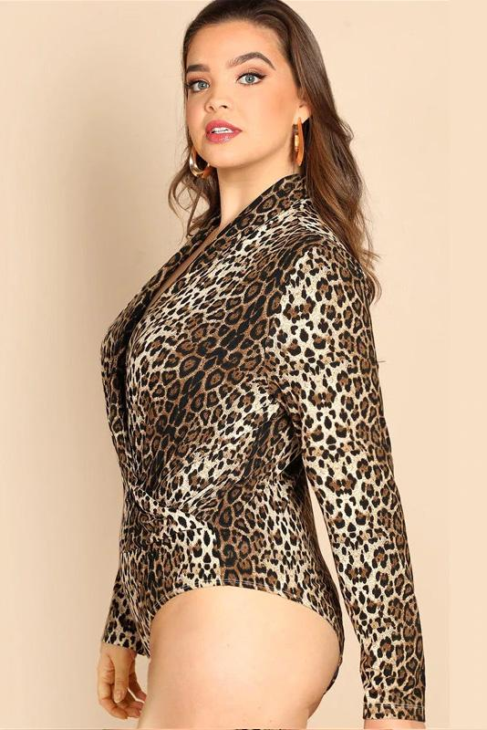 Plus Size Diva Long Sleeve Leopard Print Stretchy Top Bodysuit