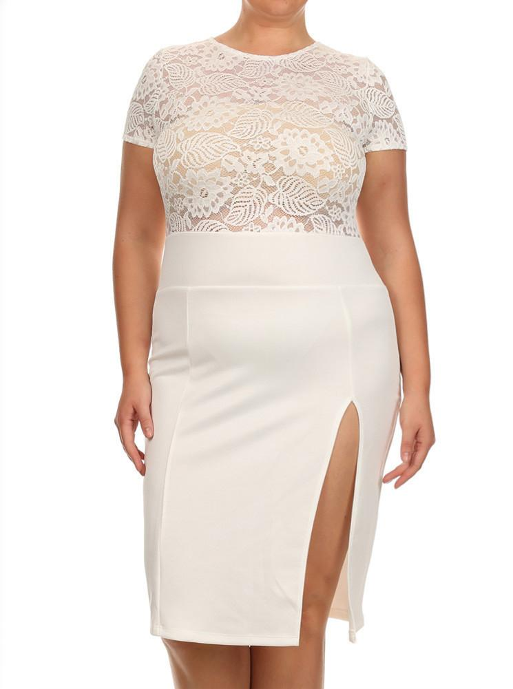 Plus Size Sleek See Through Floral Lace White Dress