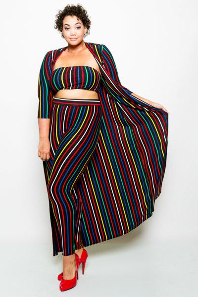 Plus Size Candy 2 Piece Colorful Stripe Jumpsuit Set