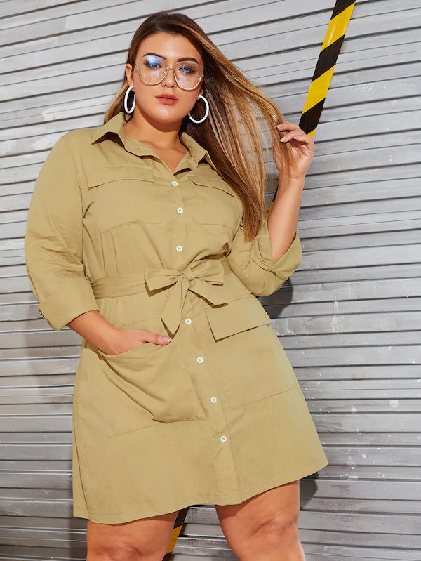 Plus Size Pocket Front Single Breasted Belted Shirt Dress