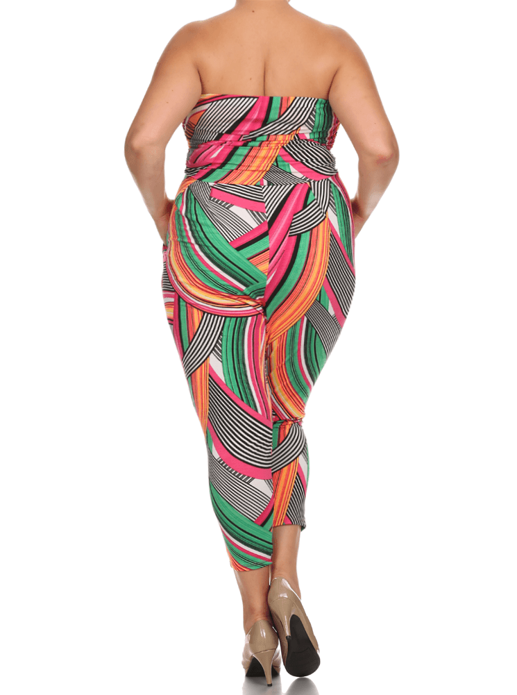 Plus Size Color Glow Striped Jumpsuit