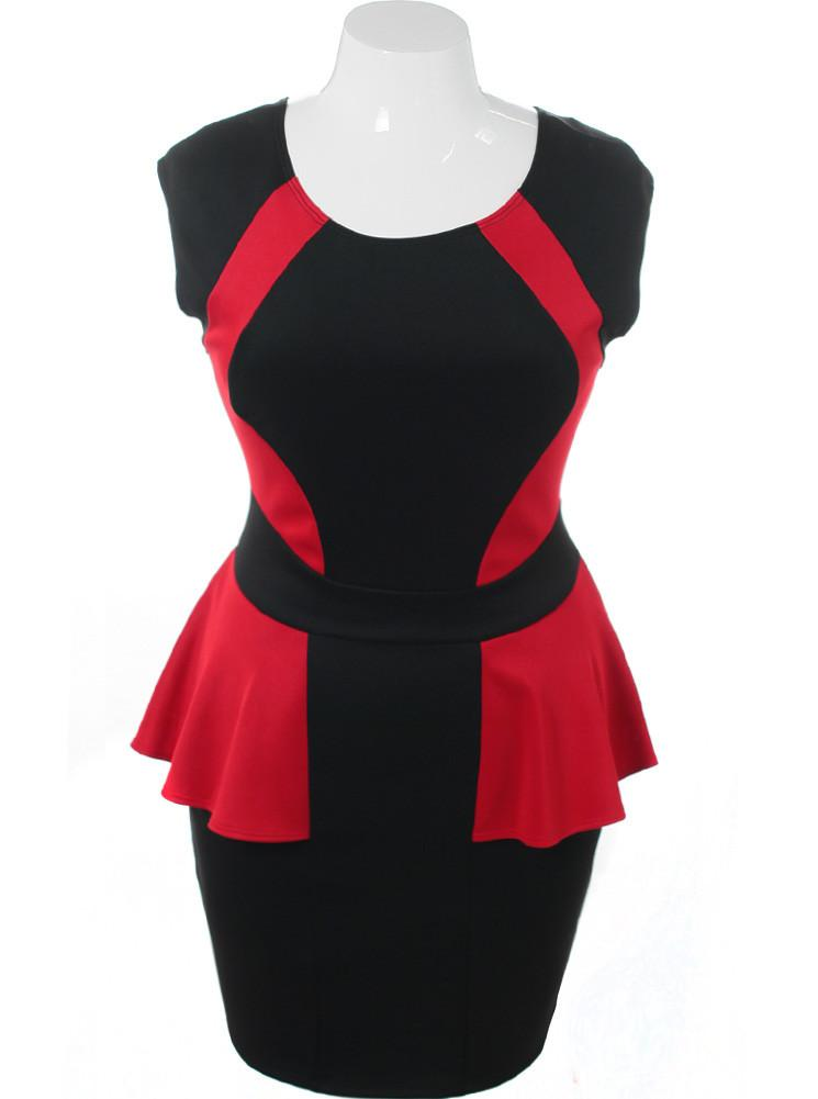 Plus Size Color Block Red Peplum Dress