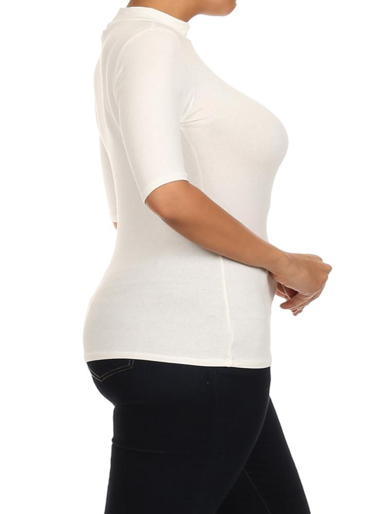 Plus Size Mock Turtle Neck Cut Out White Top