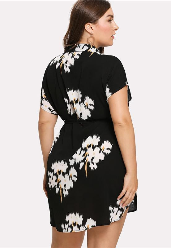 Plus Size Floral Belted Shirt Dress Dress