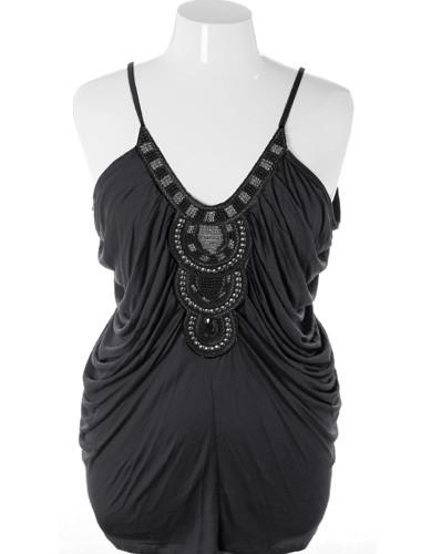 Plus Size Sexy Flowing Beaded Aztec Black Tank