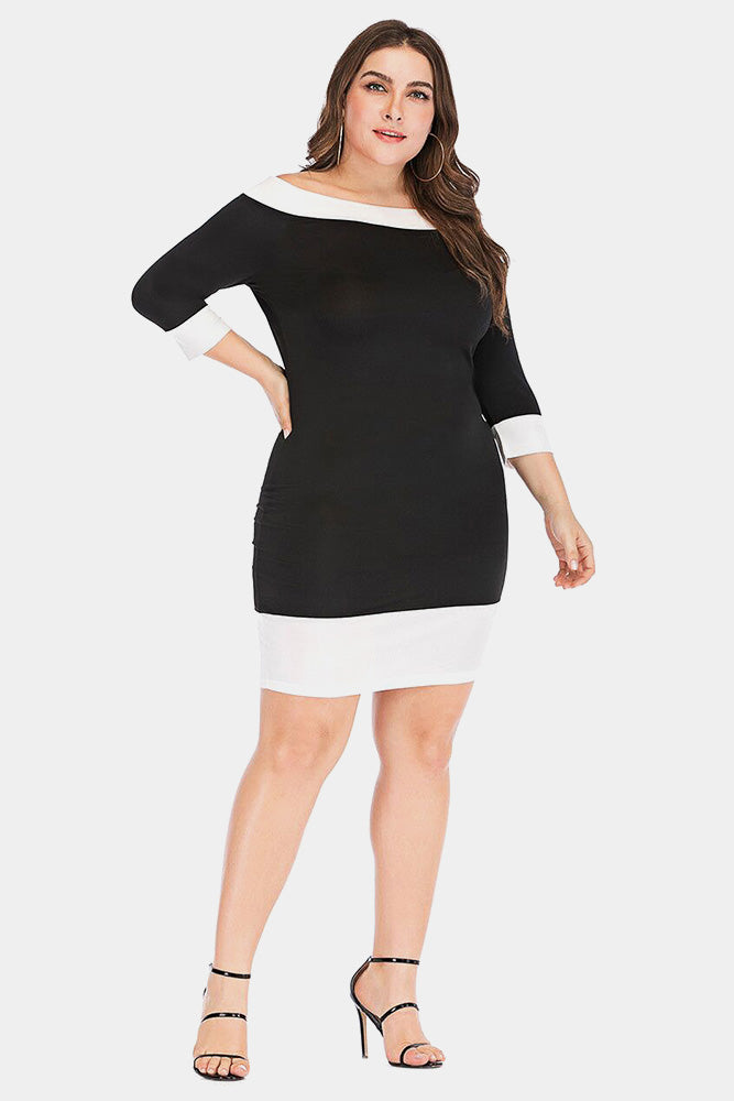 Plus Size Contrast 1/4 Sleeve Bodycon Party Dress