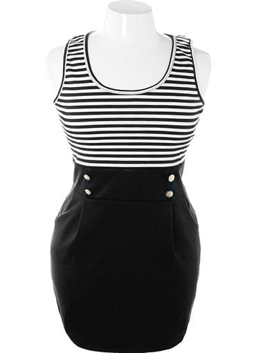 Plus Size Flirtatious Striped Sailor Dress