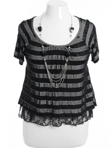 Plus Size Lace Layered Stripe Black Blouse