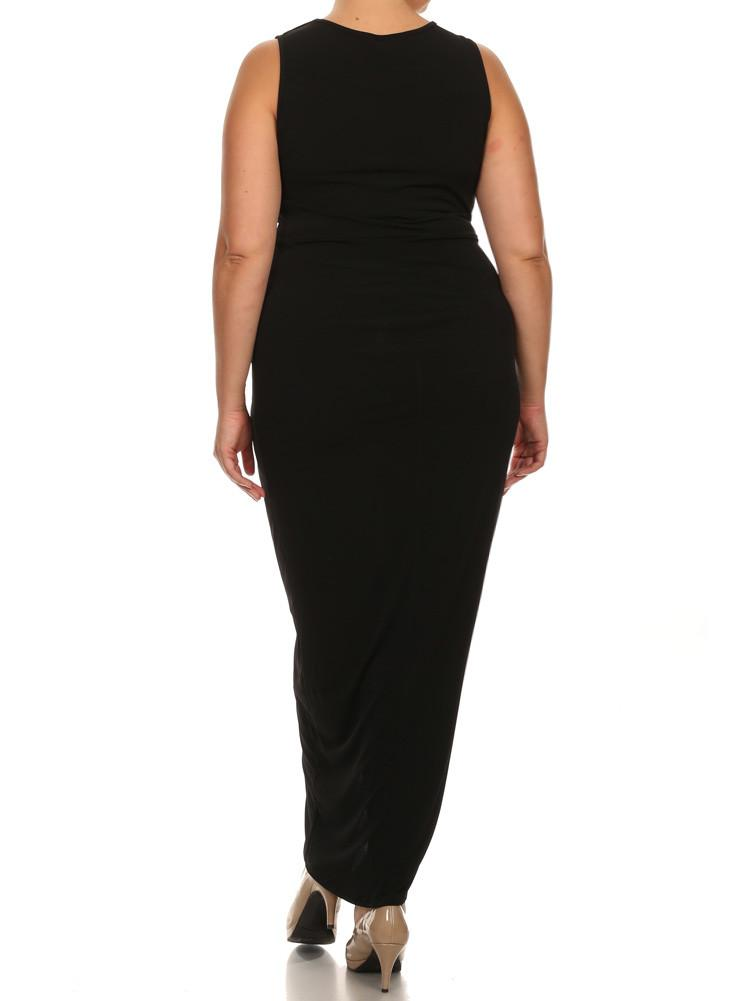 Plus Size Luring Knot Front BlackMaxi Dress