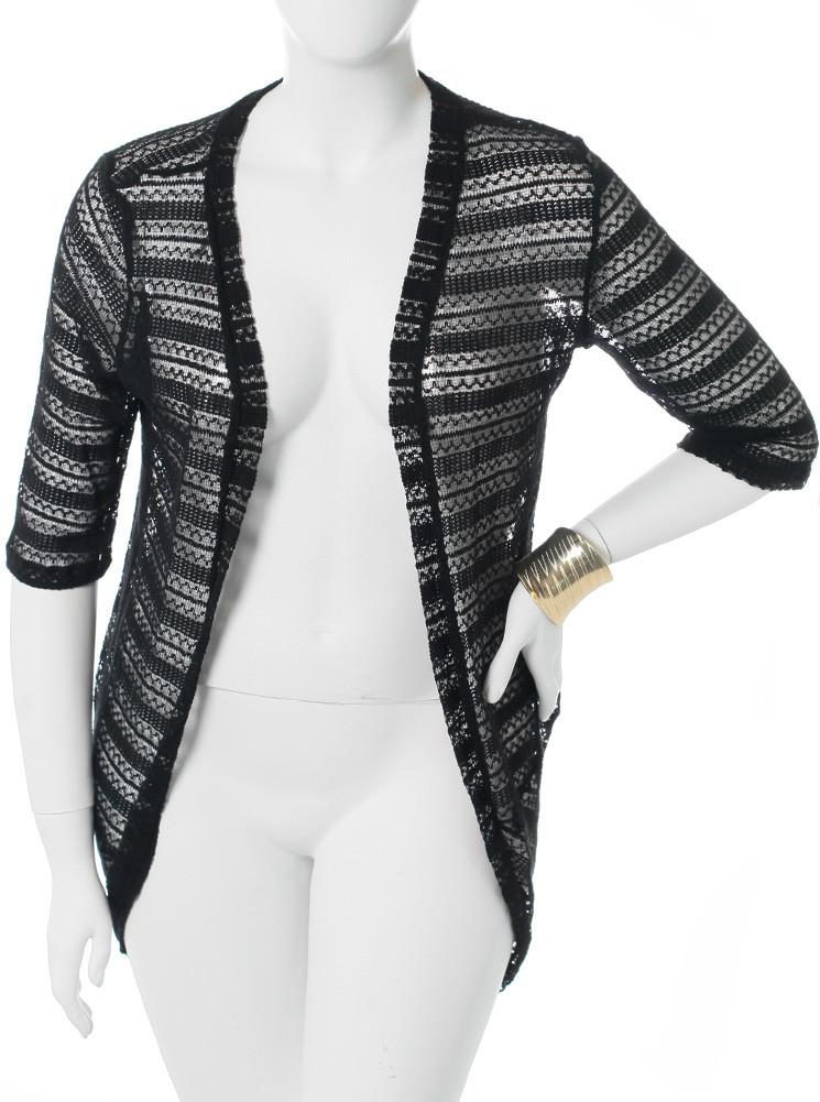 Plus Size Knitted Open Front Black Cardigan