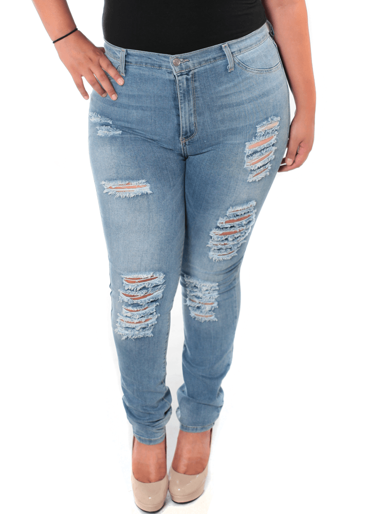 Plus Size Night And Day Denim Slashed Jeans