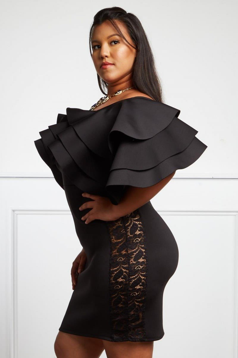 Plus Size Ruffle Off Shoulder Tiered Dress – slayboo