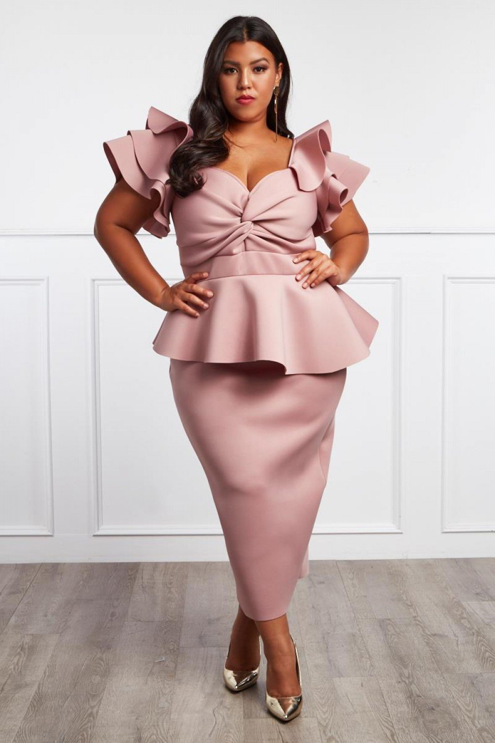 Plus Size Bold Shoulder Glam Peplum Dress [PRE-ORDER]