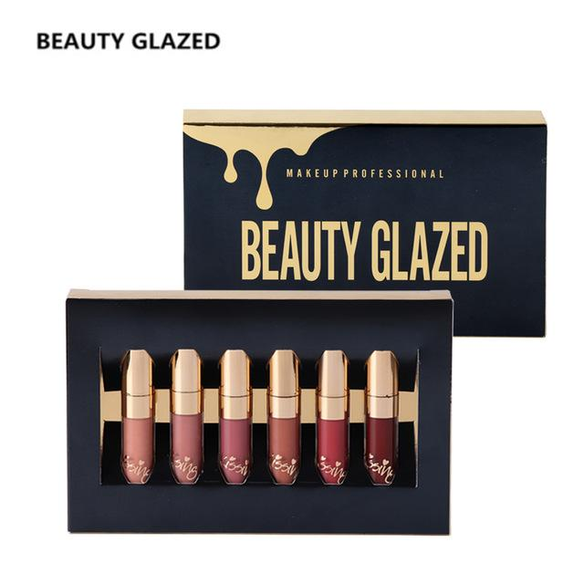 Beauty Glazed Matte Lipstick Lip Gloss 6pcs/set