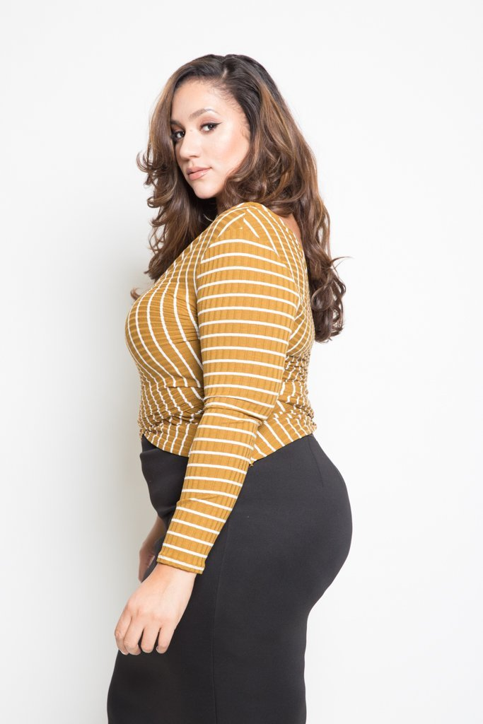 Plus Size Cross Over Striped Long Sleeved Top