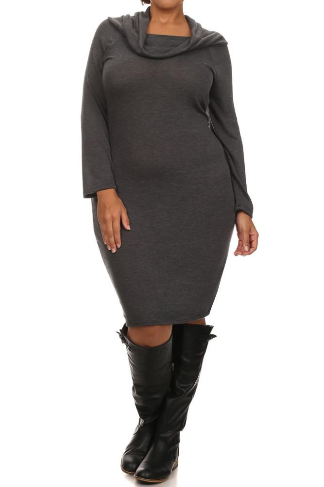 Plus Size Cowl Neck Long Sleeve Fitted Sweater Dress Slayboo