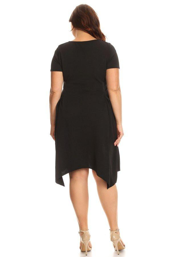 Plus Size Solid Midi Dress In A Fit And Flare Style With A Round Neck