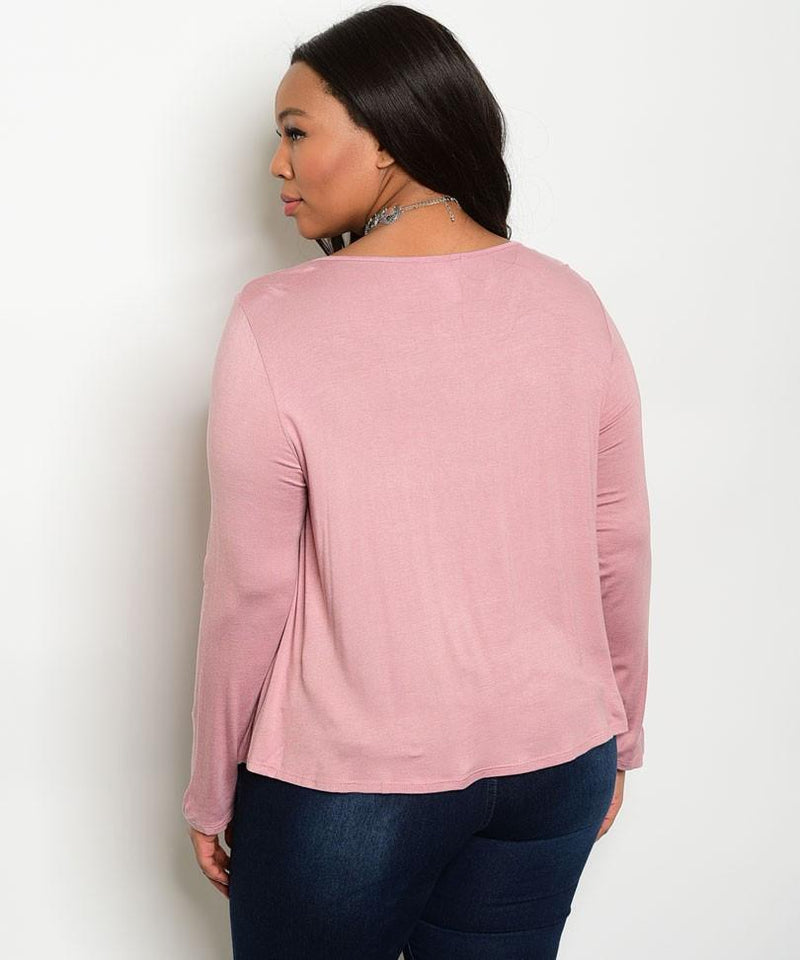 Plus Size Scoop Neck Lace Up Long Sleeve Top - Mauve
